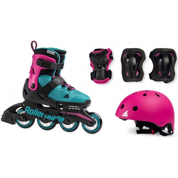 Patins Rollerblade Microblade Pink com Kit e Capacete